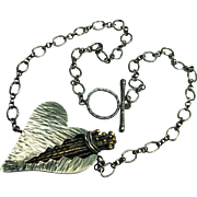 Dramatic SS & Bronze Inscribed One of a Kind Margaret Ellis Heart Necklace
