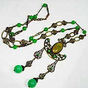Elegant Edwardian Jeweled Renaissance Revival Sautoir Necklace