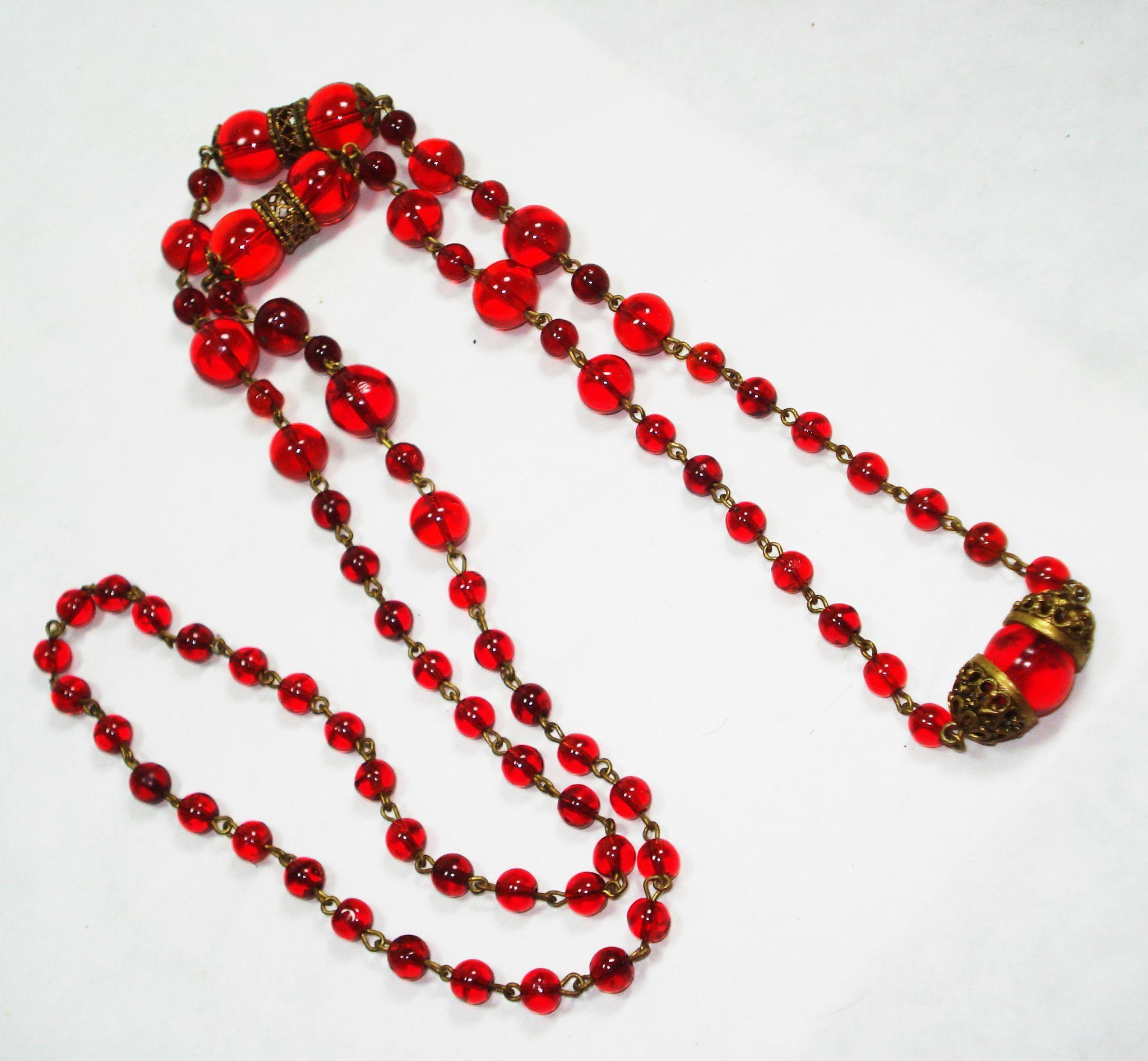EX Long Czech Ruby Glass w Filigree Bead Necklace