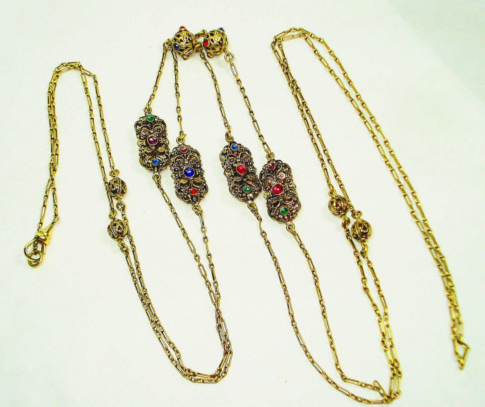 Exquisite Victorian Jeweled Czech Muff Chain Guard / Watch Chain Necklace