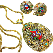Signed Czech Art Glass Millefiori Necklace & Earrings