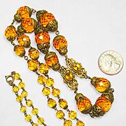 LONG Neiger Jeweled Enamel Czech Ornate Necklace
