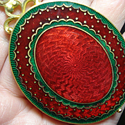 Stunning Garnet Red Enamel Slide Locket French w Mirror