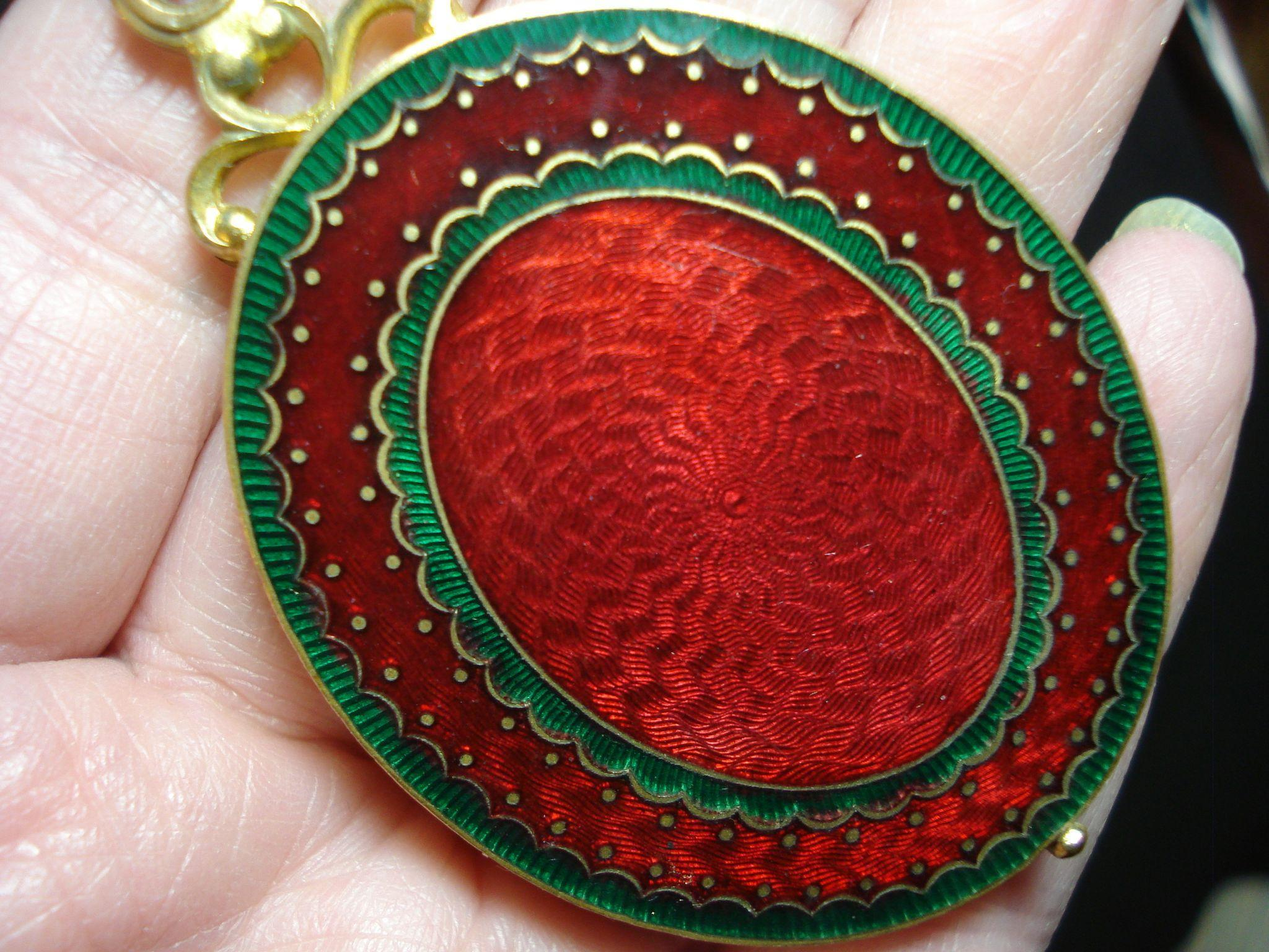 LG Art Deco Garnet Red Enamel Slide Locket French w Mirror