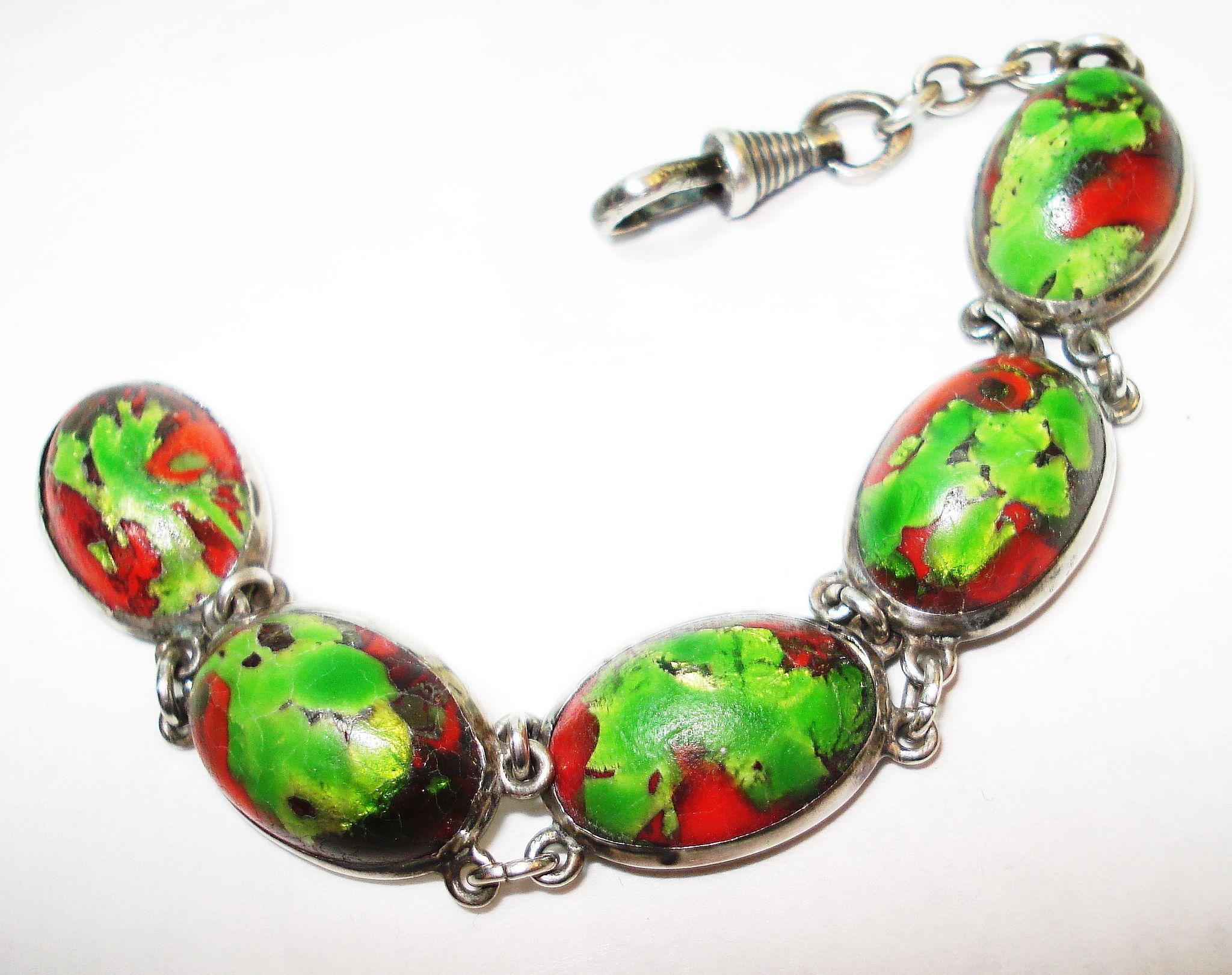 FAB Sterling Arts & Crafts Foiled Art Glass Watch Fob
