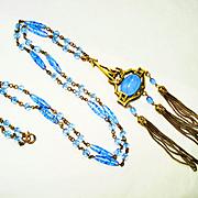 Old Czech Signed Art Glass Star Sapphire Nouveau Necklace