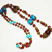 "34"" Jeweled Czech Cranberry Glass Filigree  Necklace"