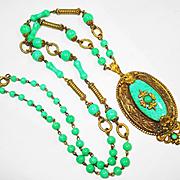 1910 Ornate Czech Peking Glass Signed Necklace