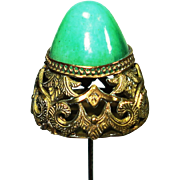 LG Egyptian Revival Jade Glass Victorian Hat Pin