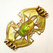 Victorian Jugendstil Art Glass Brooch
