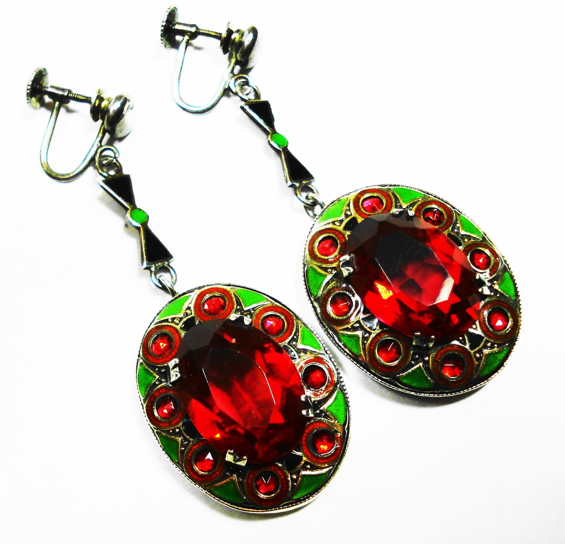 LG Art Deco Enamel Sterling Ruby Glass Dangle Earrings