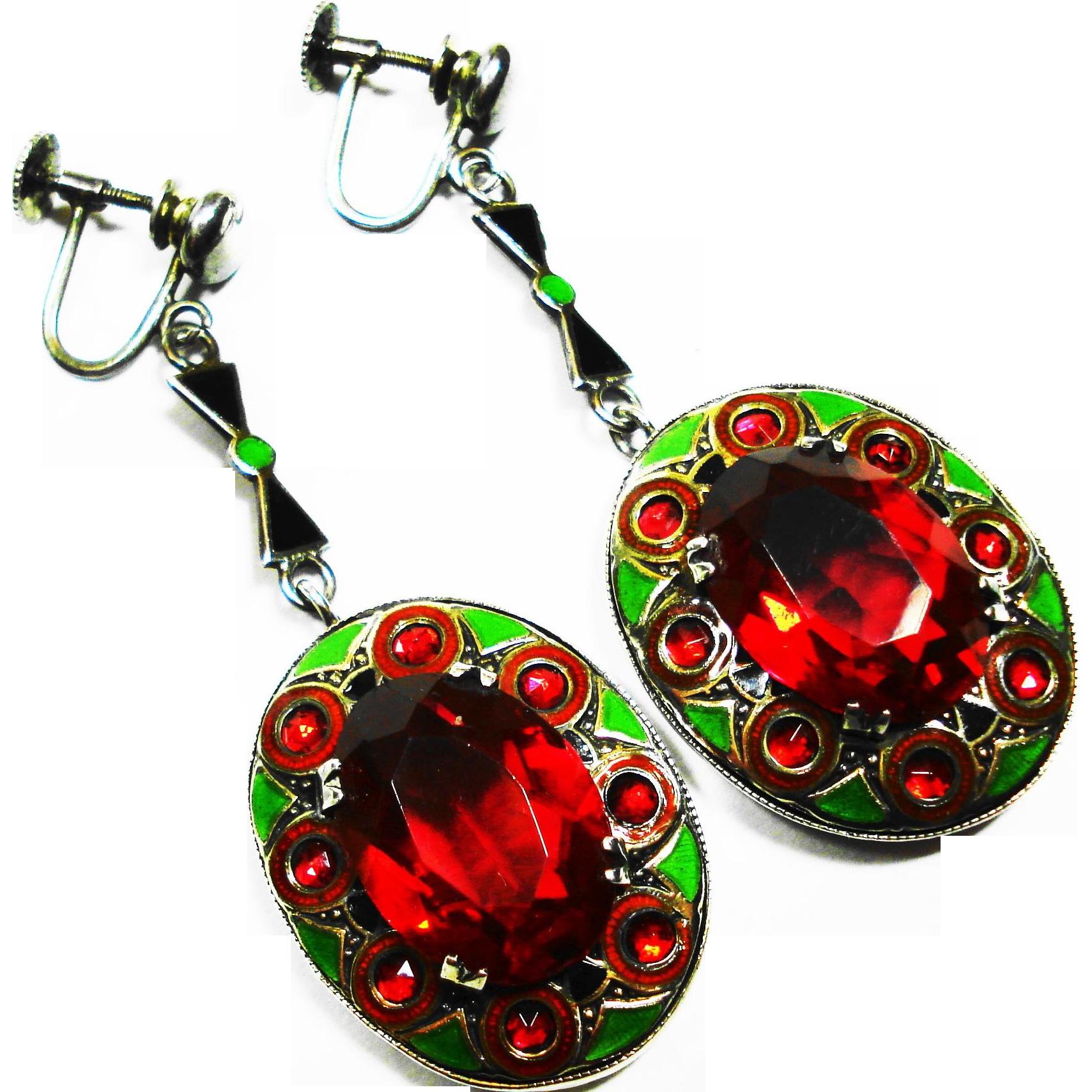 LG Art Deco Enamel Sterling Ruby Glass Dangle Earrings
