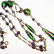 1920s Foiled Art Glass Czech Sautoir Necklace Suffragette