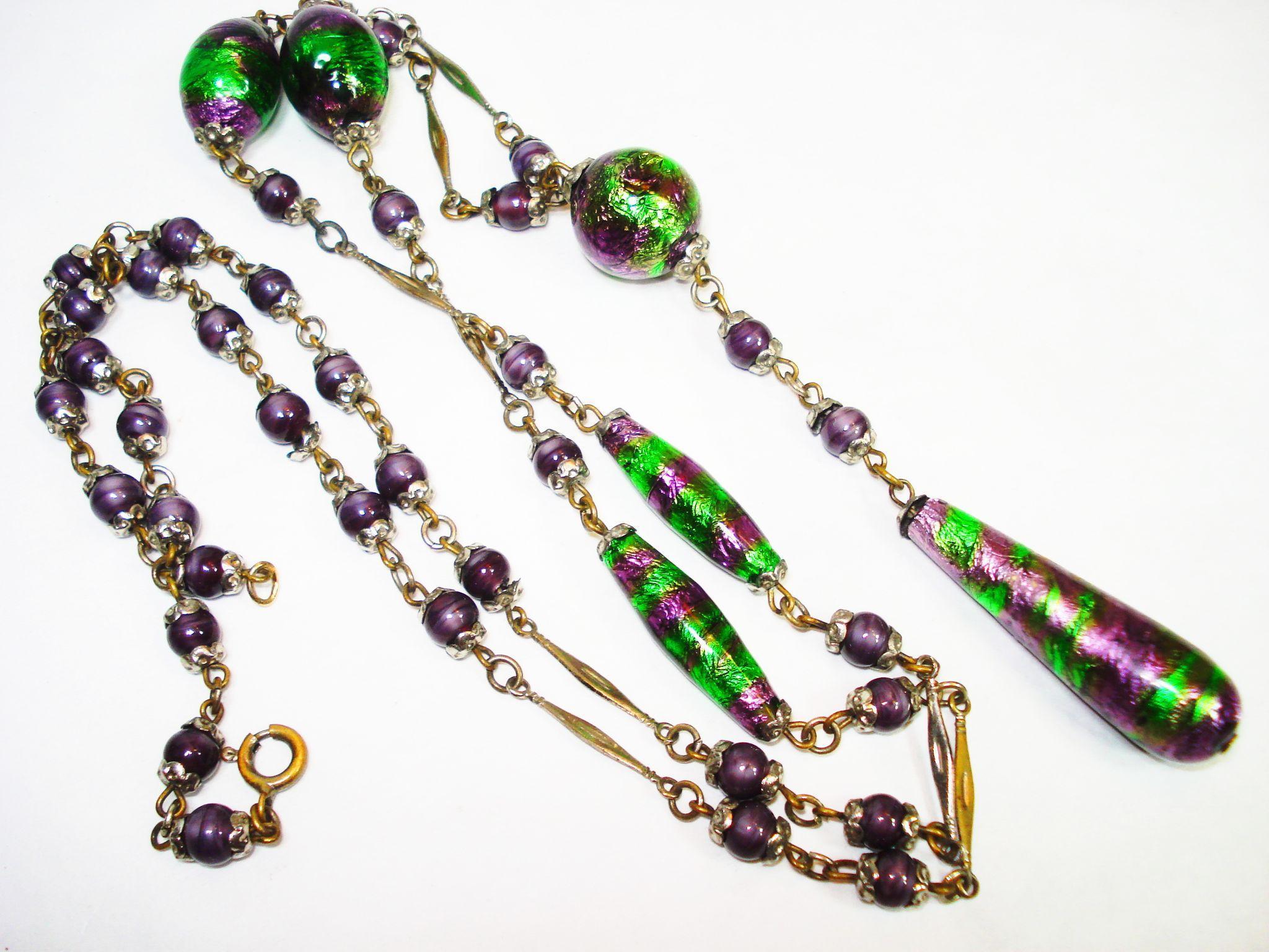 RARE Edwardian  Foiled Art Glass Czech Sautoir Necklace