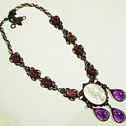 Fine French Poured Glass Intaglio Carved Crystal Necklace