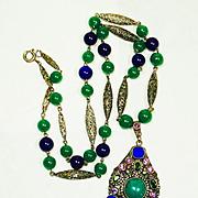 Lg Art Deco Jeweled Czech Art Glass Necklace