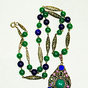 Lg Art Deco Jeweled Czech Art Glass Necklace