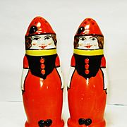 Colorful Art Deco Noritake Figural Lady Clown Salt and Pepper Shakers