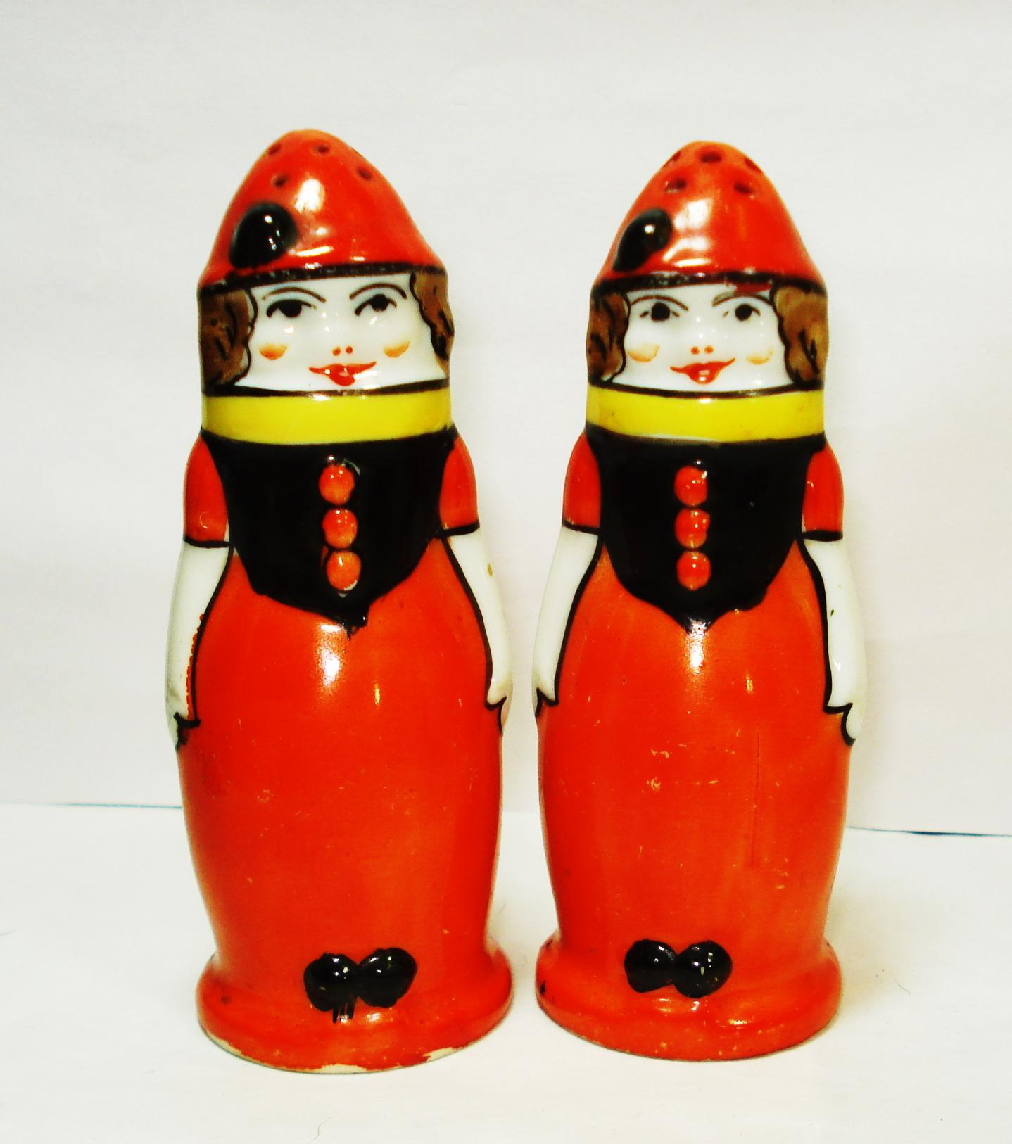Colorful art deco noritake figural lady clown salt and Colorful salt and pepper shakers