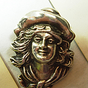 Victorian Sterling Cowgirl Annie Oakley Figural 3 Dimensional Lady Pin