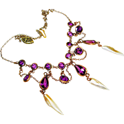 Victorian Amethyst Glass Swag Festoon Necklace