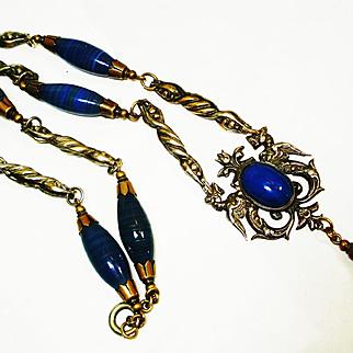 Ornate Dbl Dragons Faux Lapis Art Glass Necklace