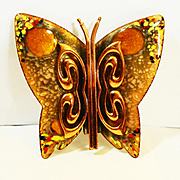 LG Matisse Colorful Copper Enamel Butterfly Brooch