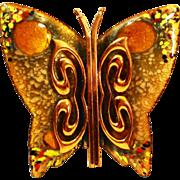 LG Matisse Colorful Copper Enamel Butterfly Brooch