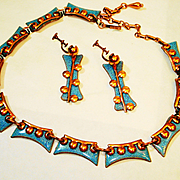 Atomic Age Copper Enamel Mid Century Eames Necklace and Earrings