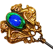 Dbl Sided Dragon Foiled Peacock Eye 8 inch Hat Pin