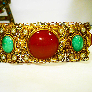 Ornate Czech Art Glass Filigree Bracelet