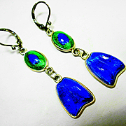 Foiled Peacock Eye Glass Sterling Silver Earrings
