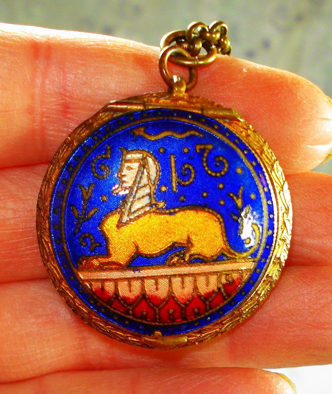 Victorian Egyptian Revival Mirror Locket Necklace
