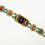 Czech Amethyst Art Glass Filigree Enamel Bracelet