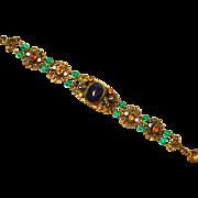 Czech Amethyst Art Glass Filigree Enamel Bracelet