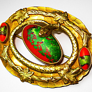 LG Victorian Snake Jeweled Art Glass Sash Pin Brooch