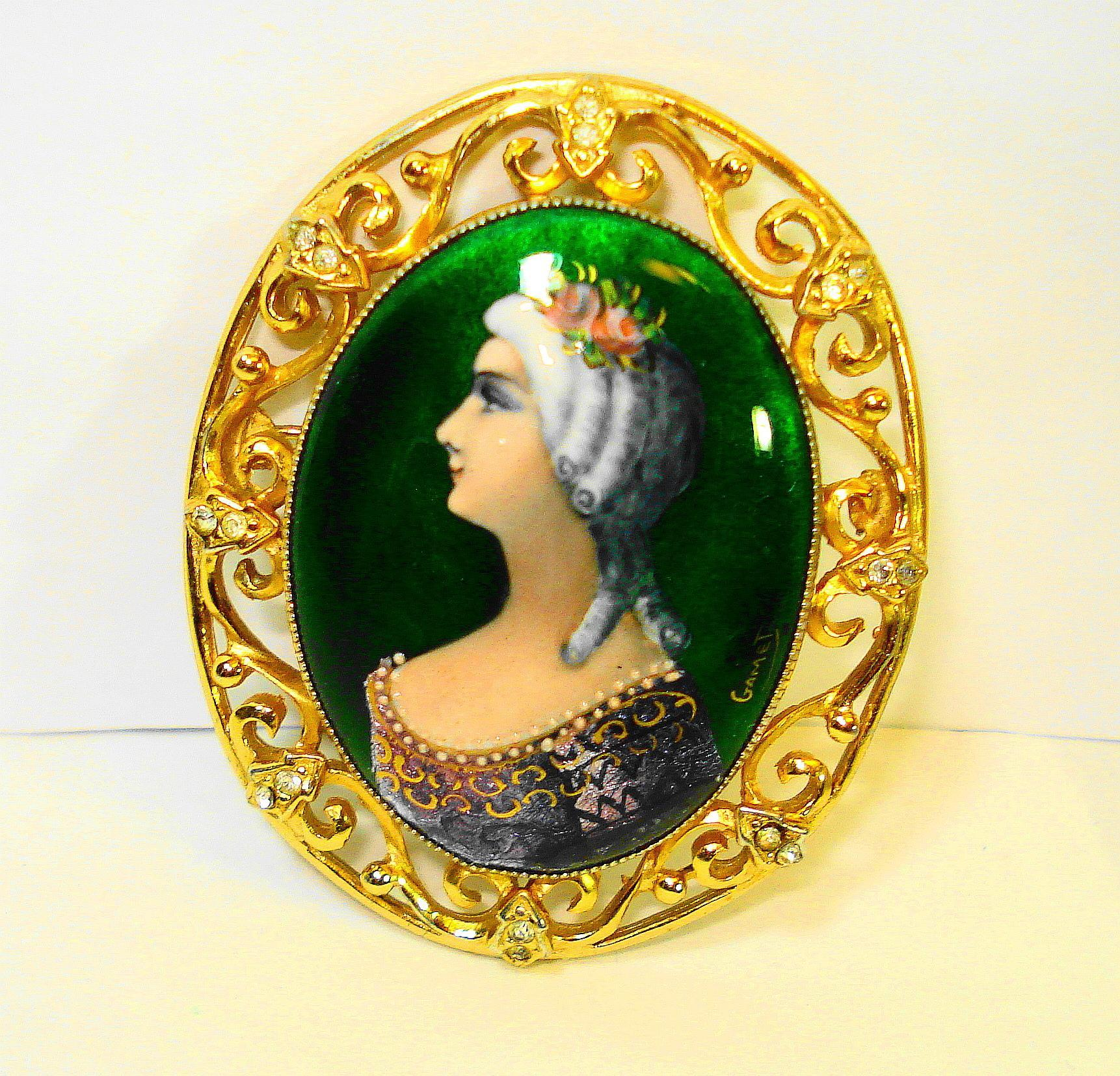 LG Foiled Limoges Enamel Lady Portrait Brooch / Pendant