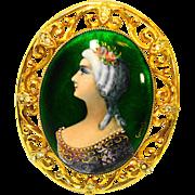 LG Foiled Limoges Enamel Lady Portrait Brooch / Pendant