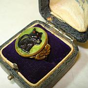 Rare Art Deco Lucky Black Cat Horseshoe, Wishbone, Clover Ring
