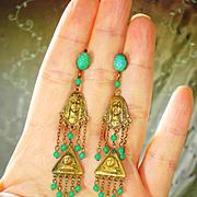 Vintage Egyptian Revival Old Czech Dangle Earrings