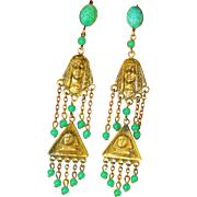 Vintage Egyptian Revival Old Czech Dangle Earrings - Red Tag Sale Item