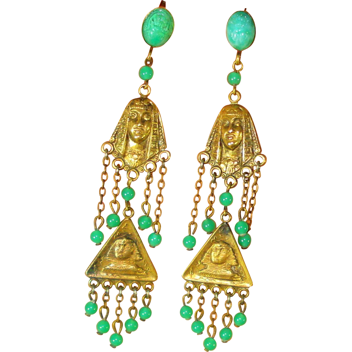Vintage Egyptian Revival Old Czech Dangle Earrings