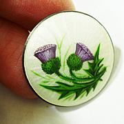1912 Guilloche Enamel Scottish Thistle Pin Lawrence Emanuel