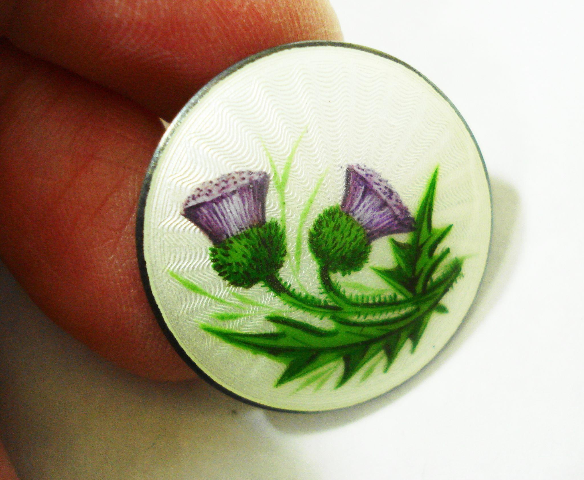 1912 Guilloche Enamel Scottish Thistle Pin Lawrence Emanuel