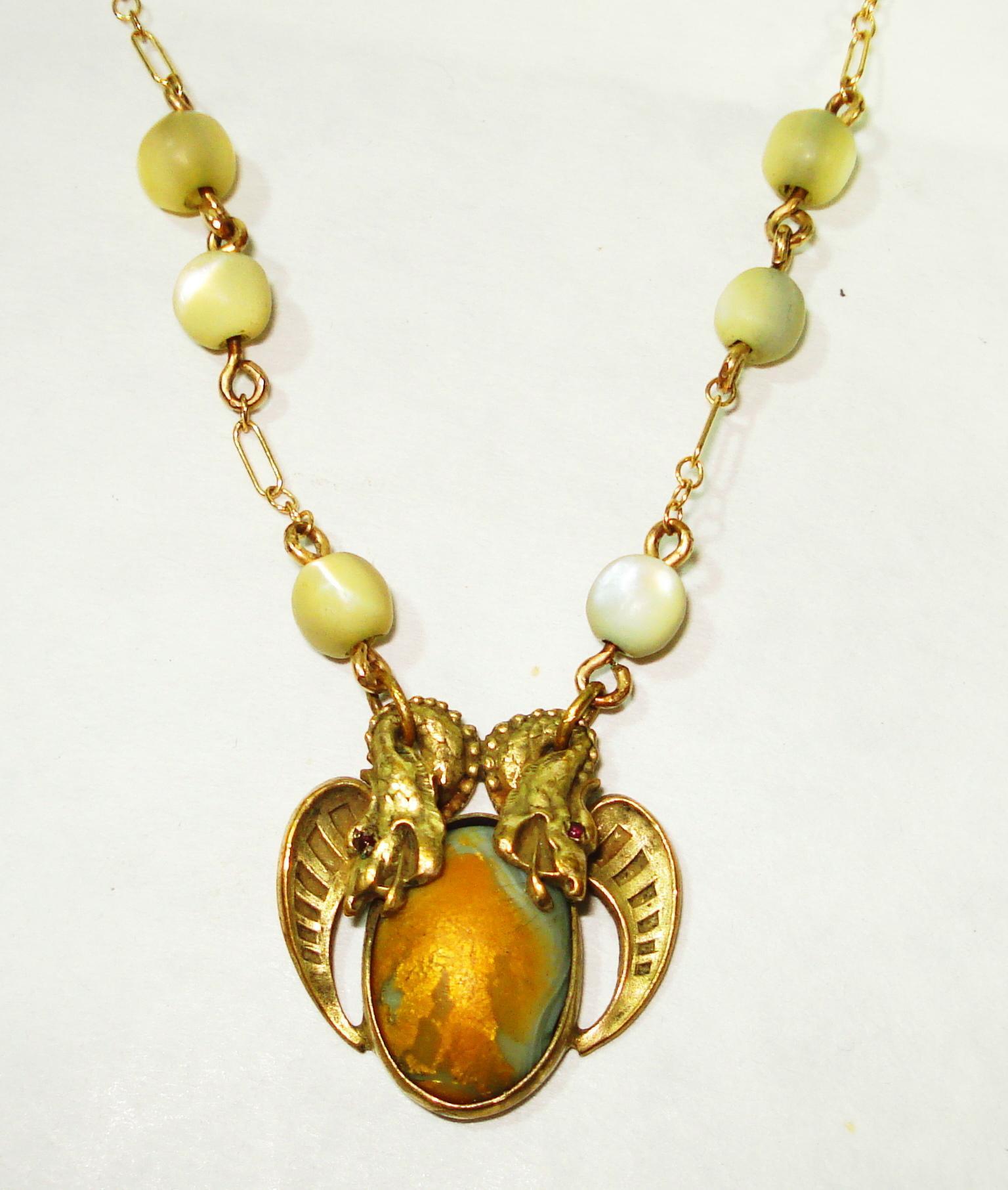Beaux Arts Jeweled Eyes Dbl Dragon Art Glass Necklace