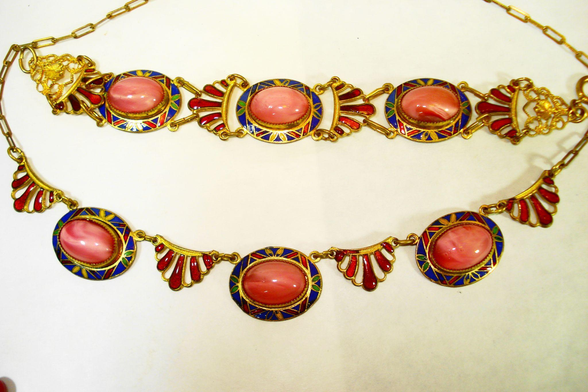 1920s Czech Enamel Art Glass Necklace Bracelet Set