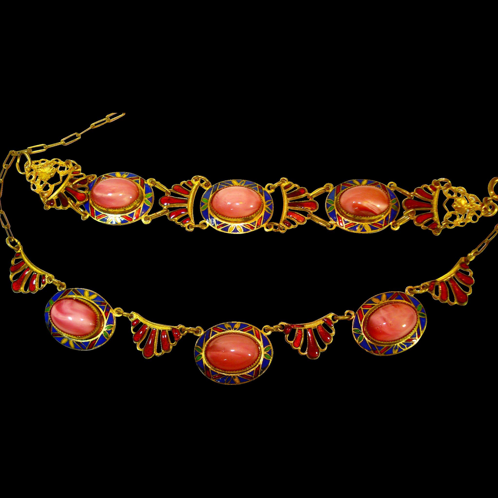 1920s Czech Enamel Art Glass Necklace Bracelet Set
