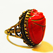 Old Czech Scarab Art Glass Egyptian Revival Ring