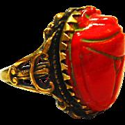 Old Czech Scarab Art Glass Egyptian Revival Ring