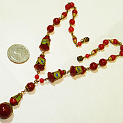 Fab Czech Enamel Carnelian Art Glass SIGNED Necklace